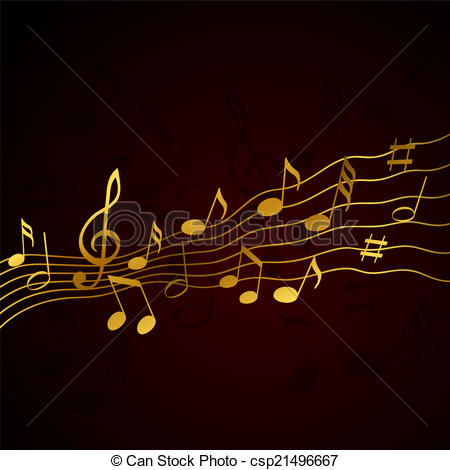 Vector Clipart of Gold music notes on a solide black background.