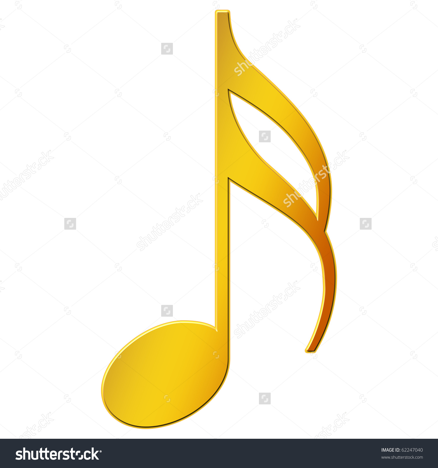 Music Note Sixteenth Note Gold Color Stock Illustration 62247040.
