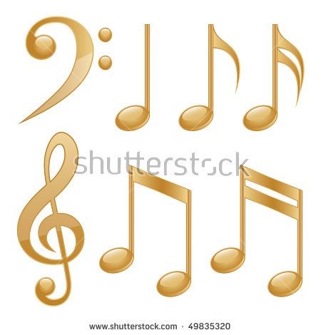 Gold Musical Symbols Stock Images, Royalty.