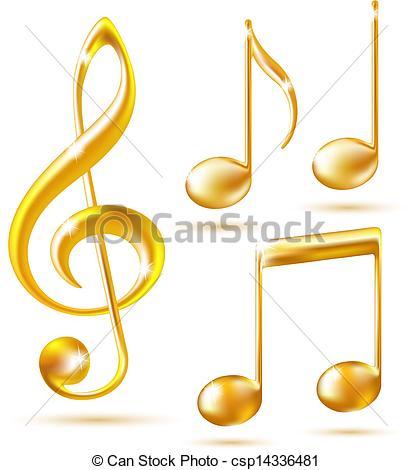 Gold Music Notes Clip Art.