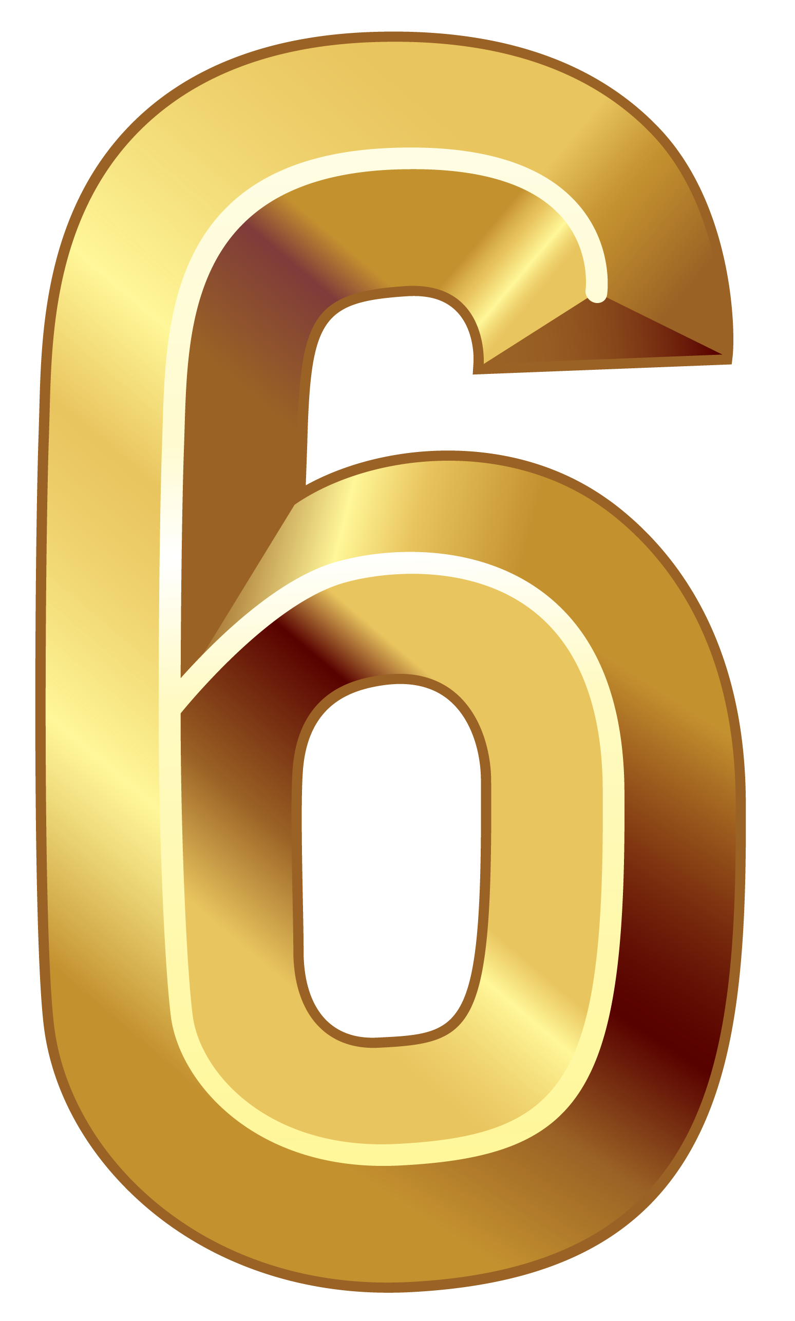 Gold Number Six PNG Clipart Image.
