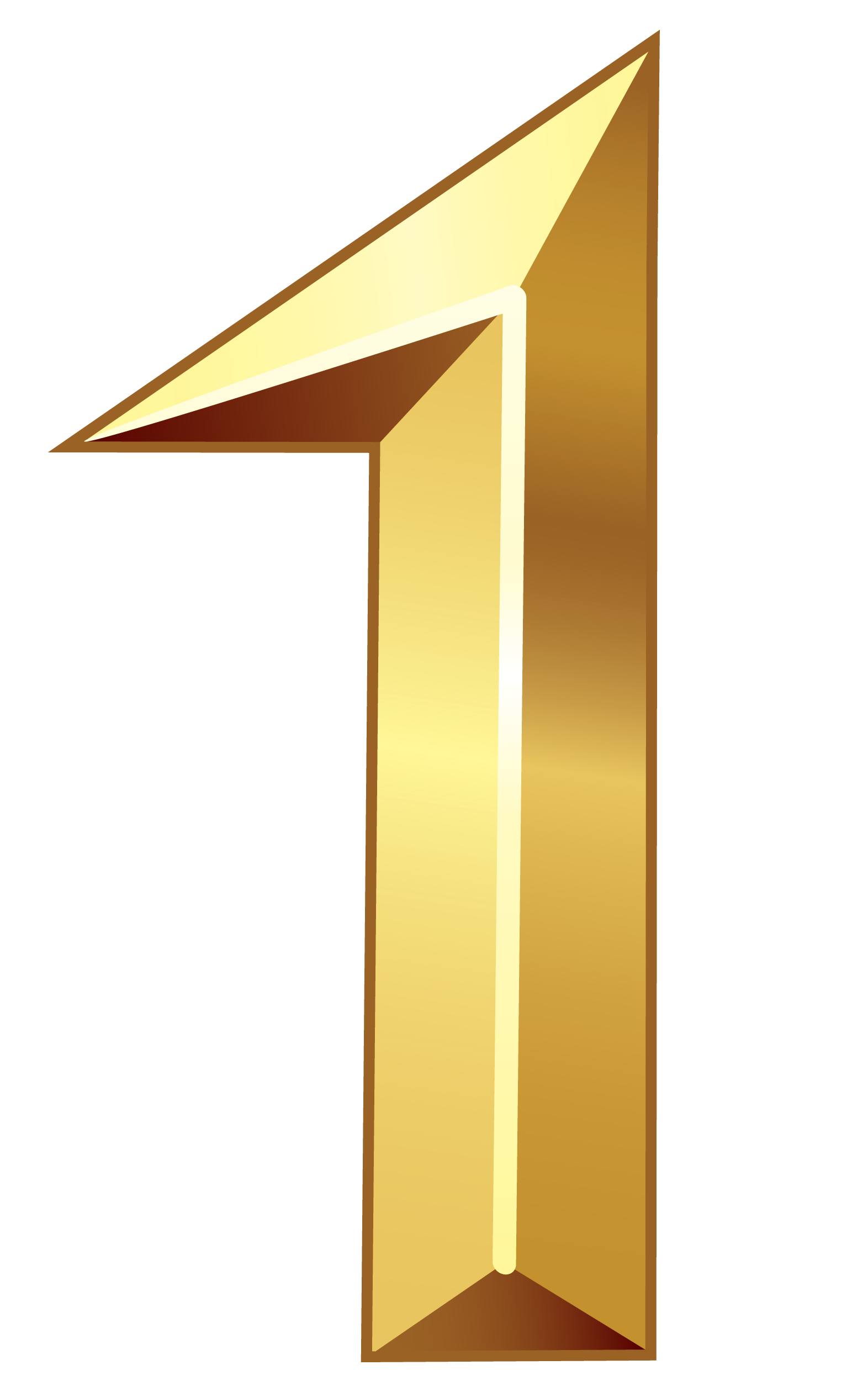 Gold Number One PNG Clipart Image.