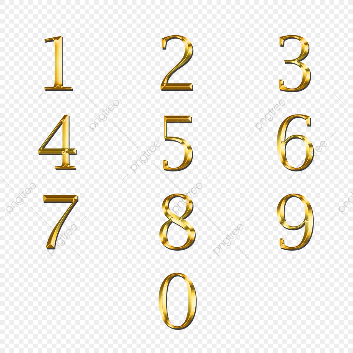 Golden Numbers, Gold, Effect, Mockup PNG Transparent Clipart Image.