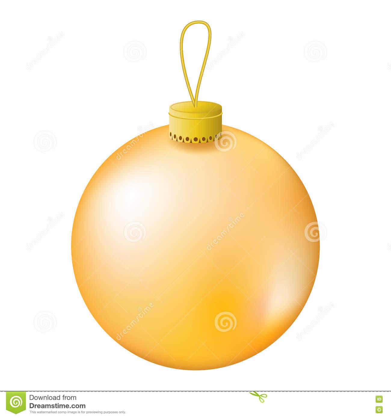 Gold Christmas Tree Ball Realistic Illustration. Stock Illustration.
