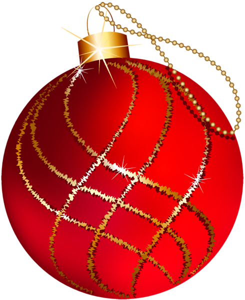 Transparent Christmas Large Red and Gold Ornament Clipart.