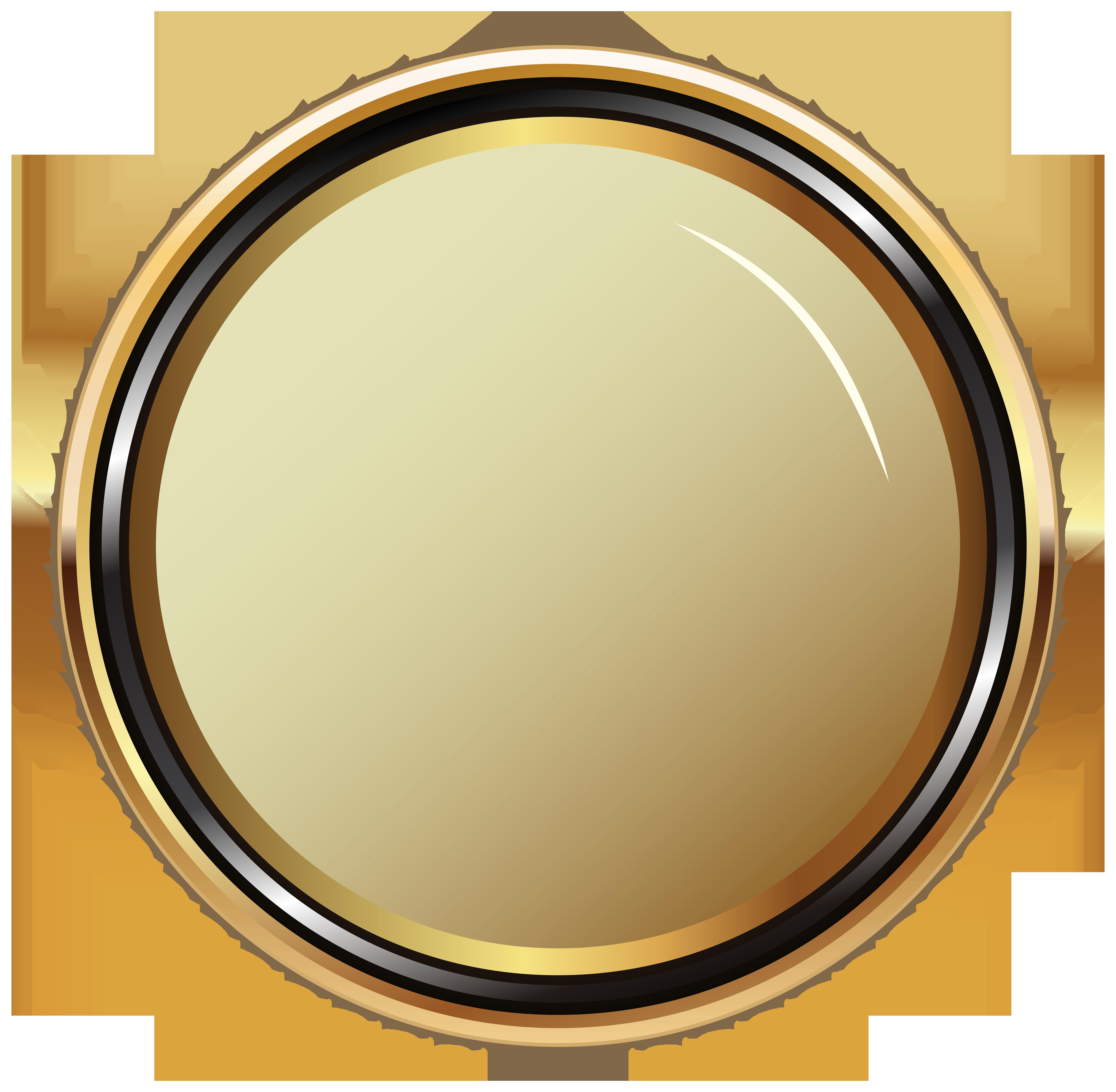 Gold Oval Badge Transparent PNG Clip Art Image.