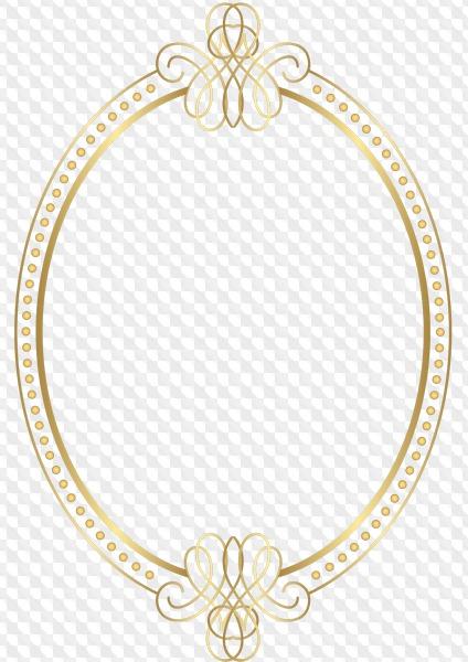 7 PNG, Gold oval frames on transparent background.