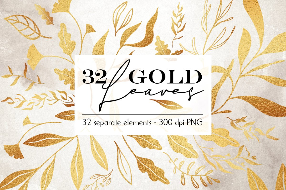 32 Gold leaf overlays clip art ~ Graphic Objects ~ Creative.