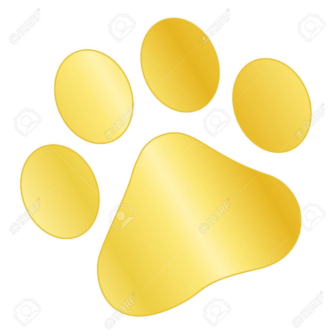 Gold / golden paw print isolated on white background.