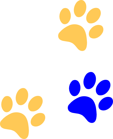 Blue/gold Paw Print Clip Art at Clker.com.