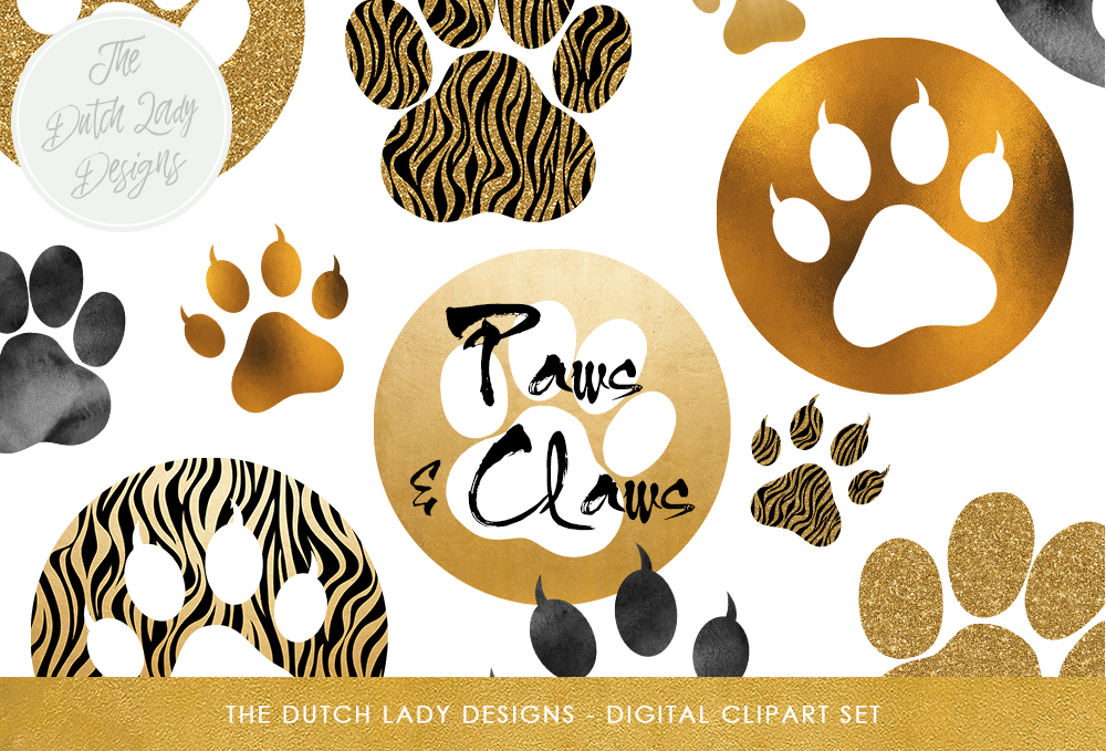 Animal Paws & Claws Clipart Set.