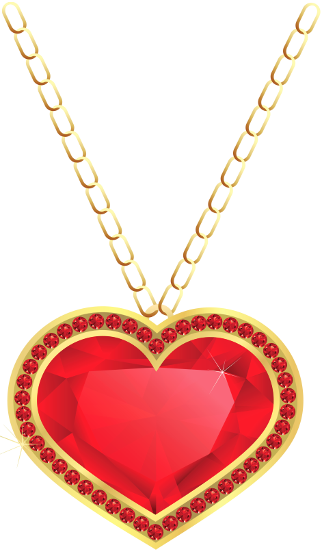 Red and Gold Heart Pendant PNG Clipart.