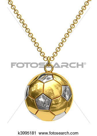 Clipart of Gold pendant in shape of soccer ball on chain k3995181.