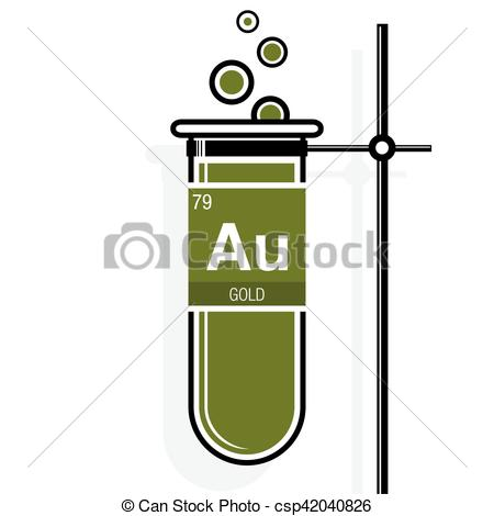 Gold periodic table symbol clipart clipground vector illustration of gold symbol on label in a green test tube urtaz Images