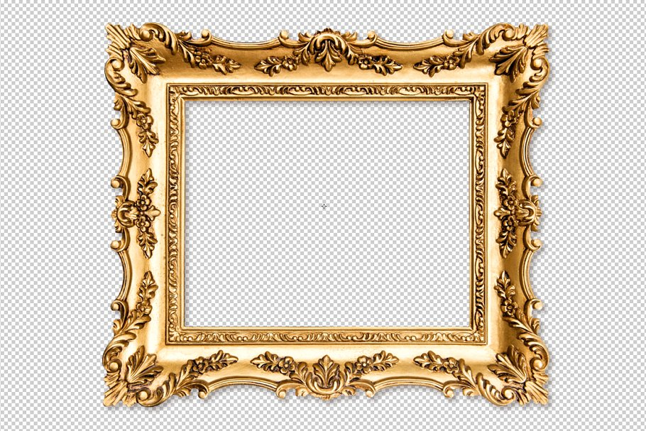 Baroque golden picture frame PNG.