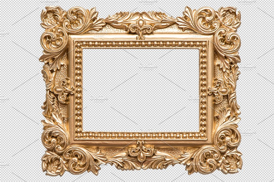 Golden picture frame PNG.