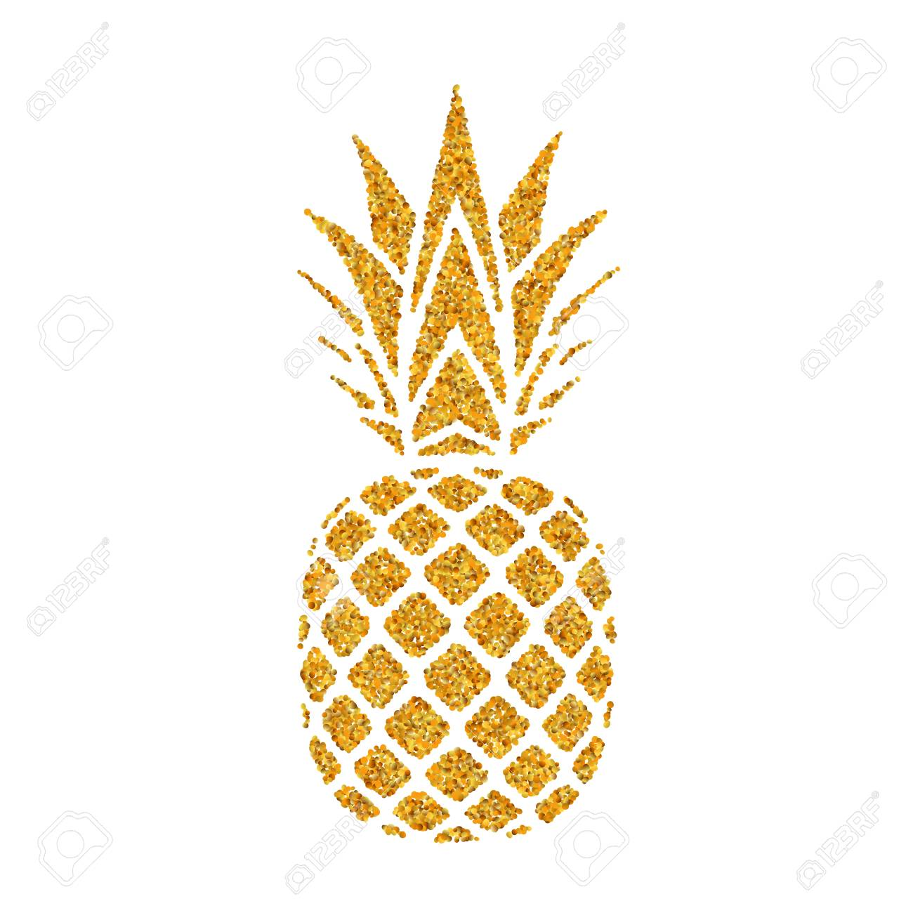 Pineapple golden with leaf. Tropical gold exotic fruit isolated...