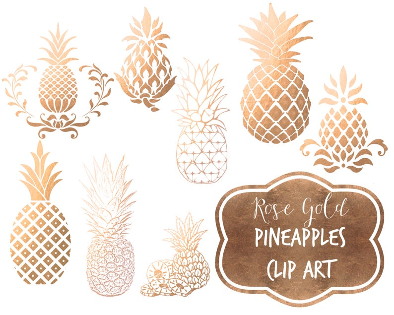 Rose gold pineapple clipart Gold foil pineapples pineapple clipart digital  clip art Pineapples faux gold foil digital metallic gold.