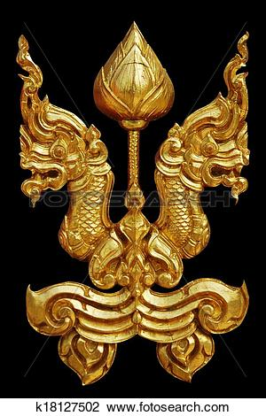 Clip Art of Ornament of gold plated vintage floral ,thai art Style.