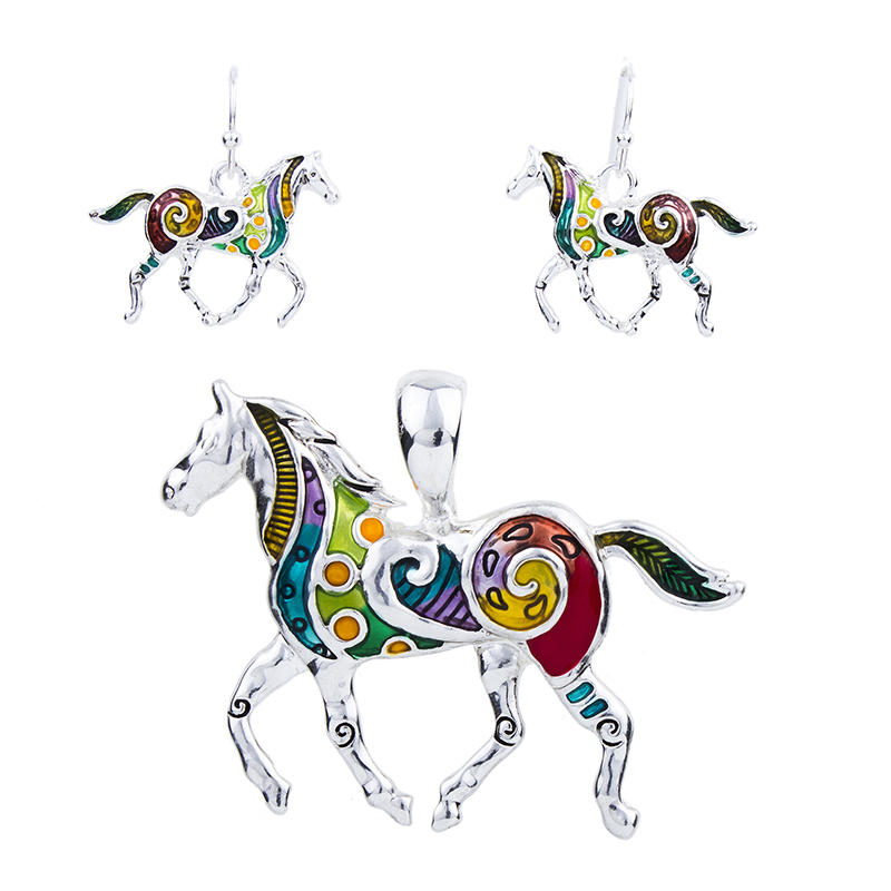 Woman's Fashion Jewelry Quality Gold Plated Multicolor Horse.