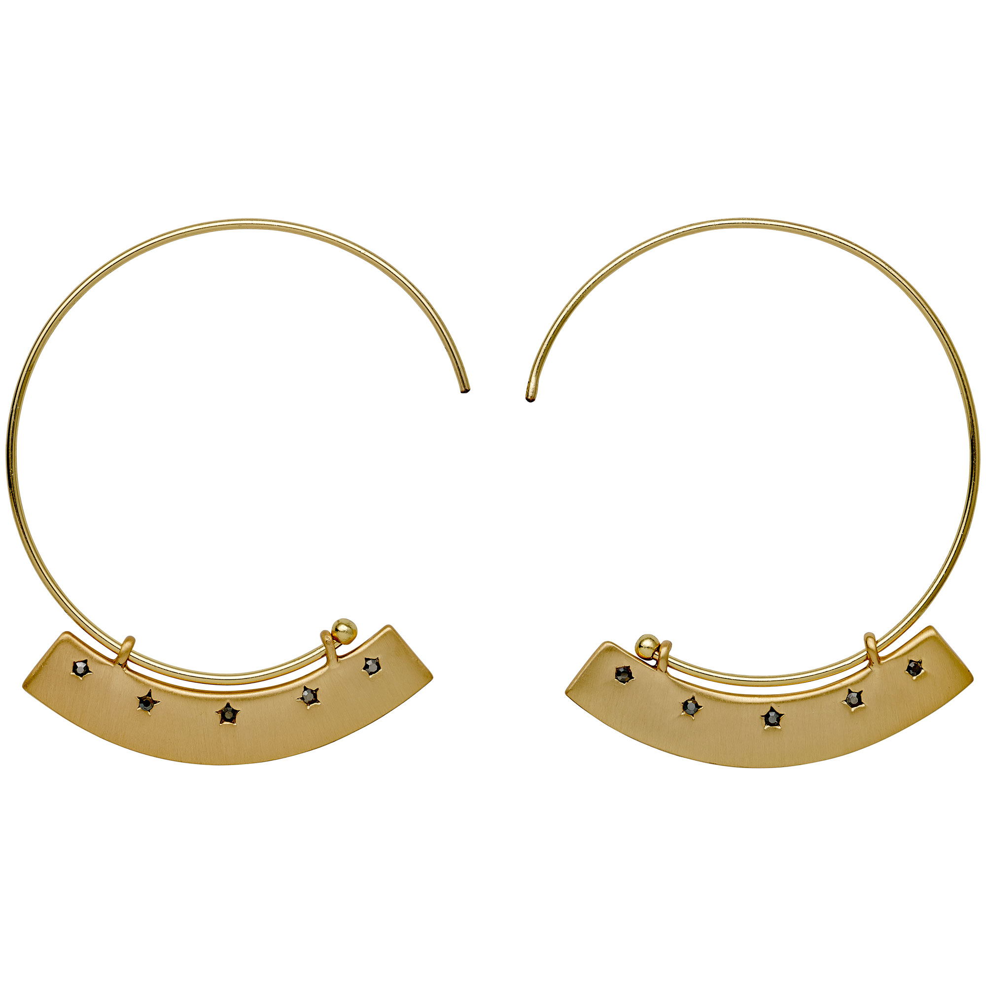 Pilgrim earrings (hoops) with gold plated brass and precious.