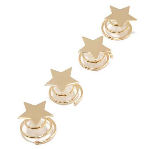 6 pcs / lots ) Gold Plating Star Metal Hairpin Set Retro Women.
