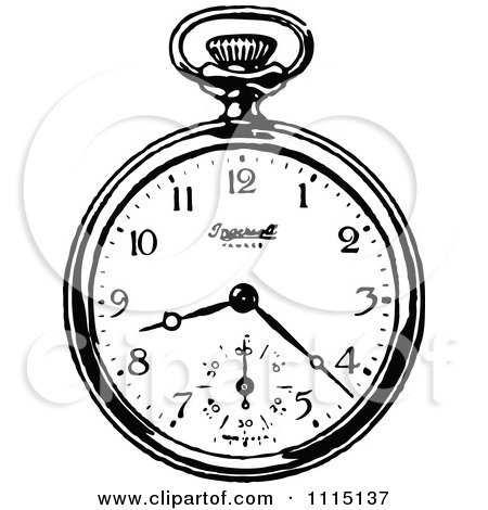 Clipart Of A Retro Vintage Black And White Pocket Watch.