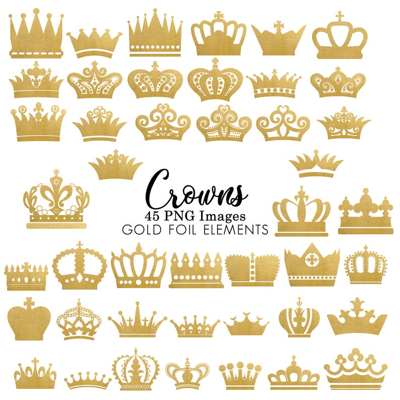 Gold Foil Crown Clipart Clip Art, INSTANT DOWNLOAD, Prince Crown Silhouette  Clipart Clip Art black crowns, Royal Clipart Princess Crowns.