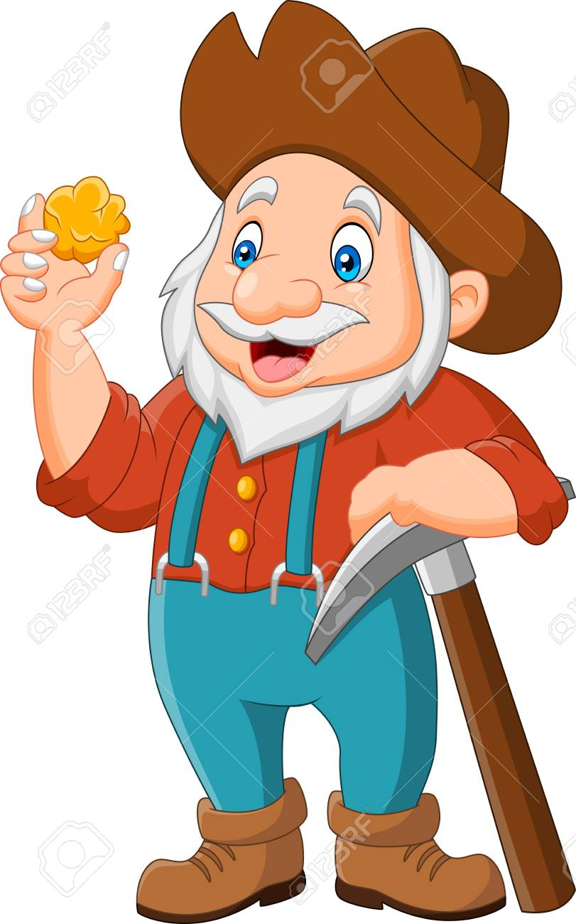 cartoon gold prospector isolated on white background.