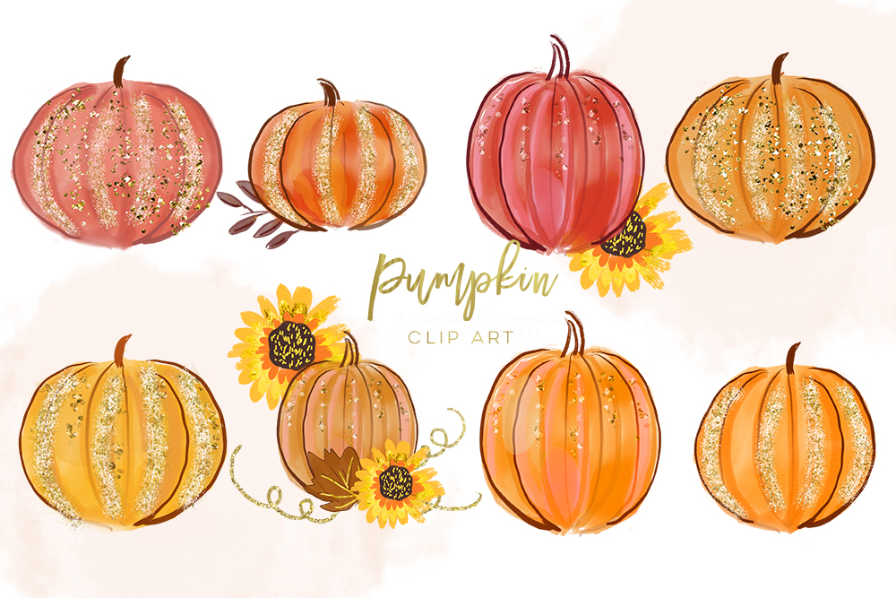 Pumpkin Clipart, Digital Pumpkin clip art, Autumn Clipart.