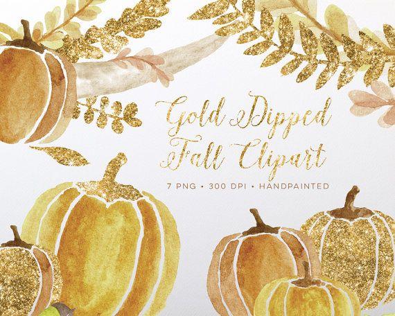 Gold fall clipart, watercolor fall clipart, pumpkin clipart.
