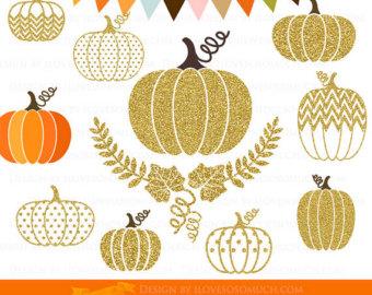 Gold Pumpkin Clipart.