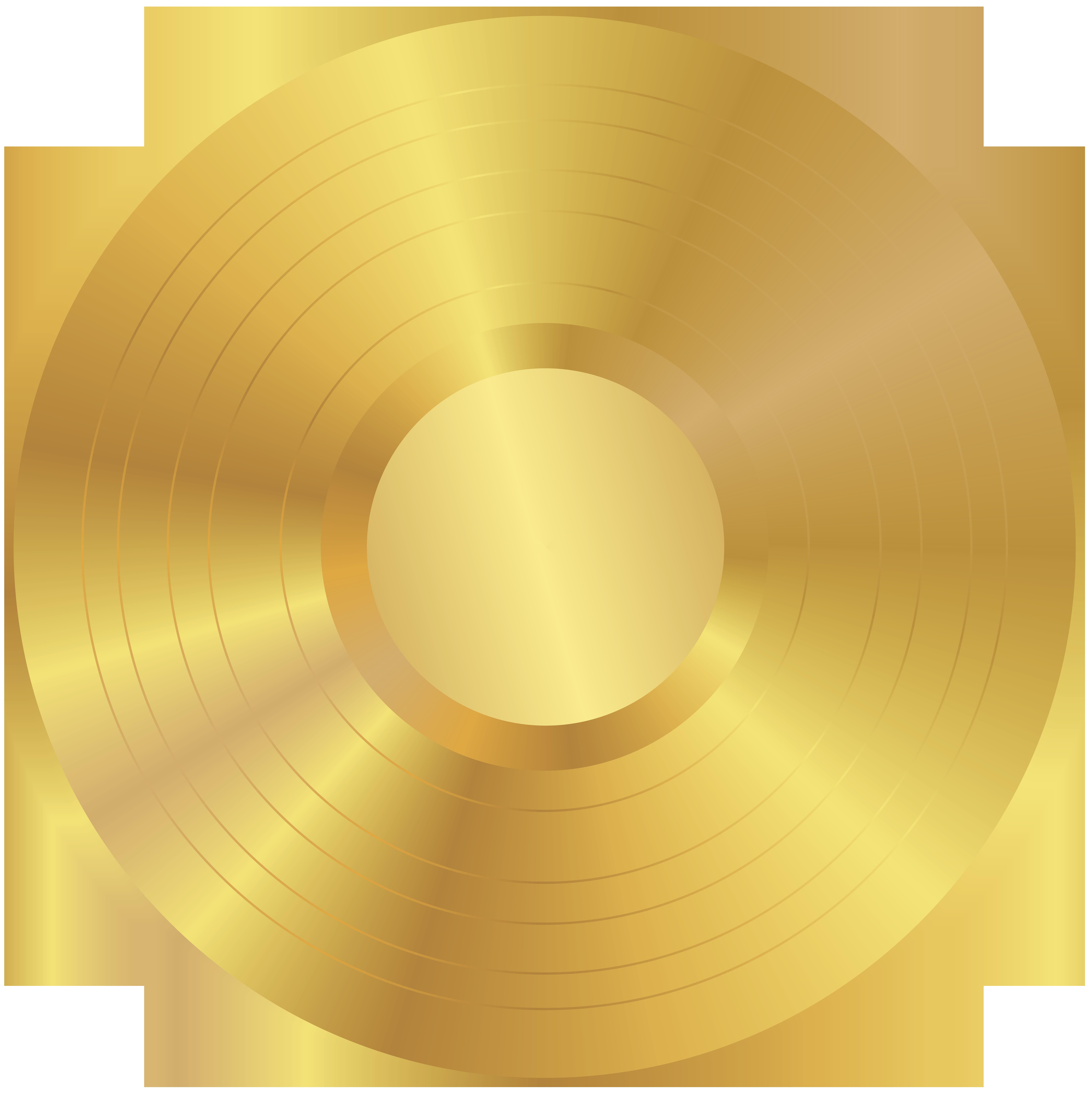 Gold Vinyl Record PNG Clip Art Image.