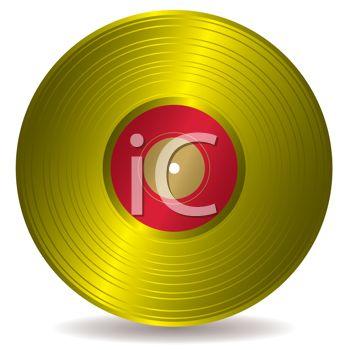 Gold Record on Vinyl. Clip Art.