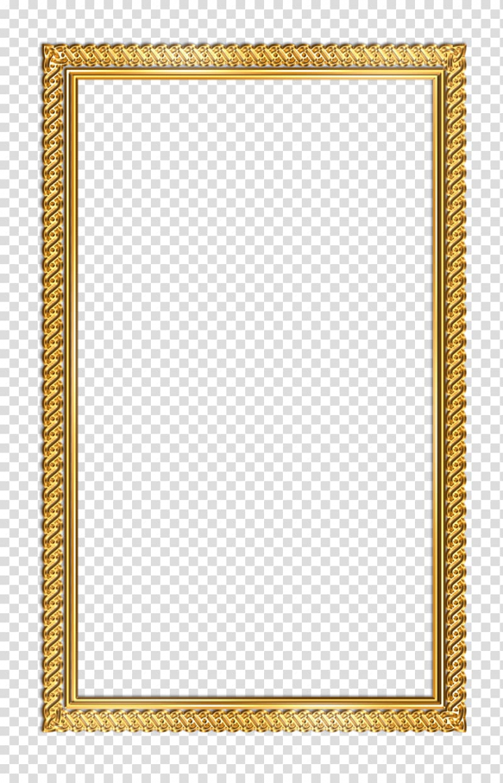 Illustration of rectangular gold frame, frame, Frame.