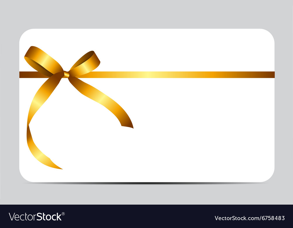Gift Card with Gold Ribbon and Bow.