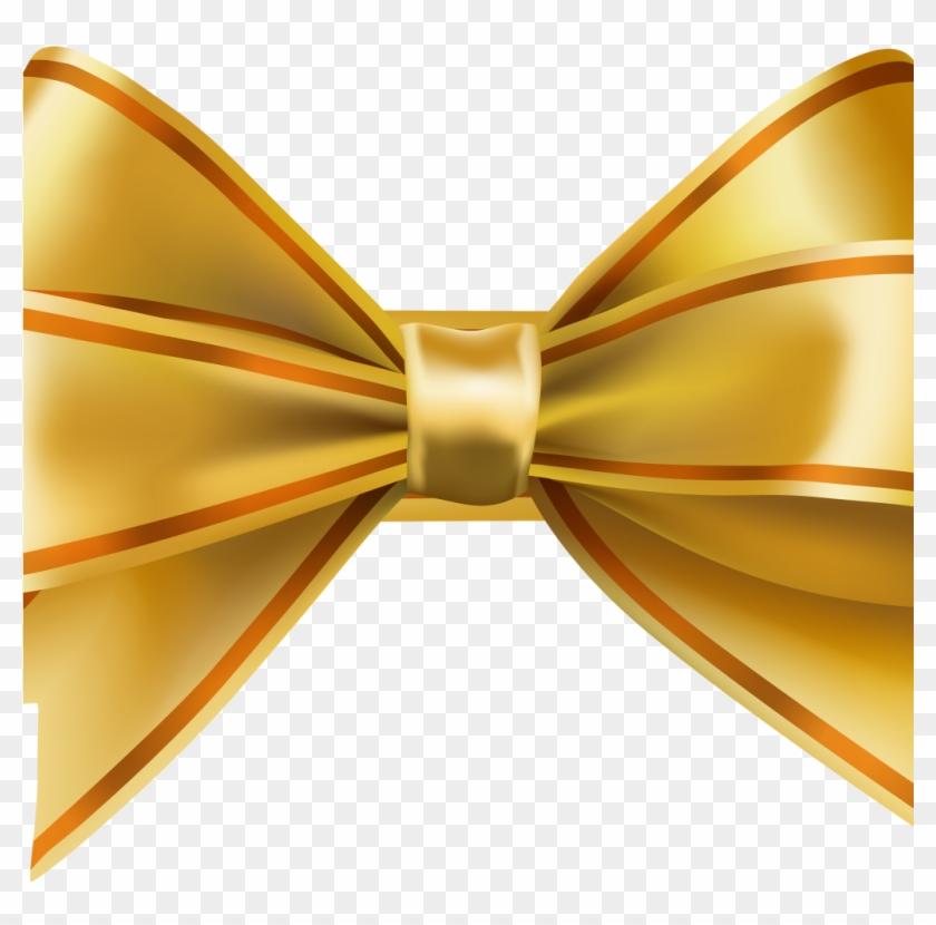 Gold Ribbon Bow Png, Transparent Png.