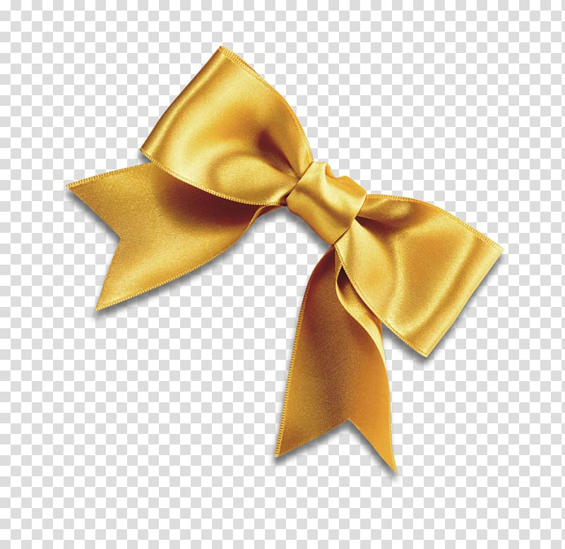 Gold ribbon bow illustration, Bow tie Yellow Ribbon Shoelace knot.