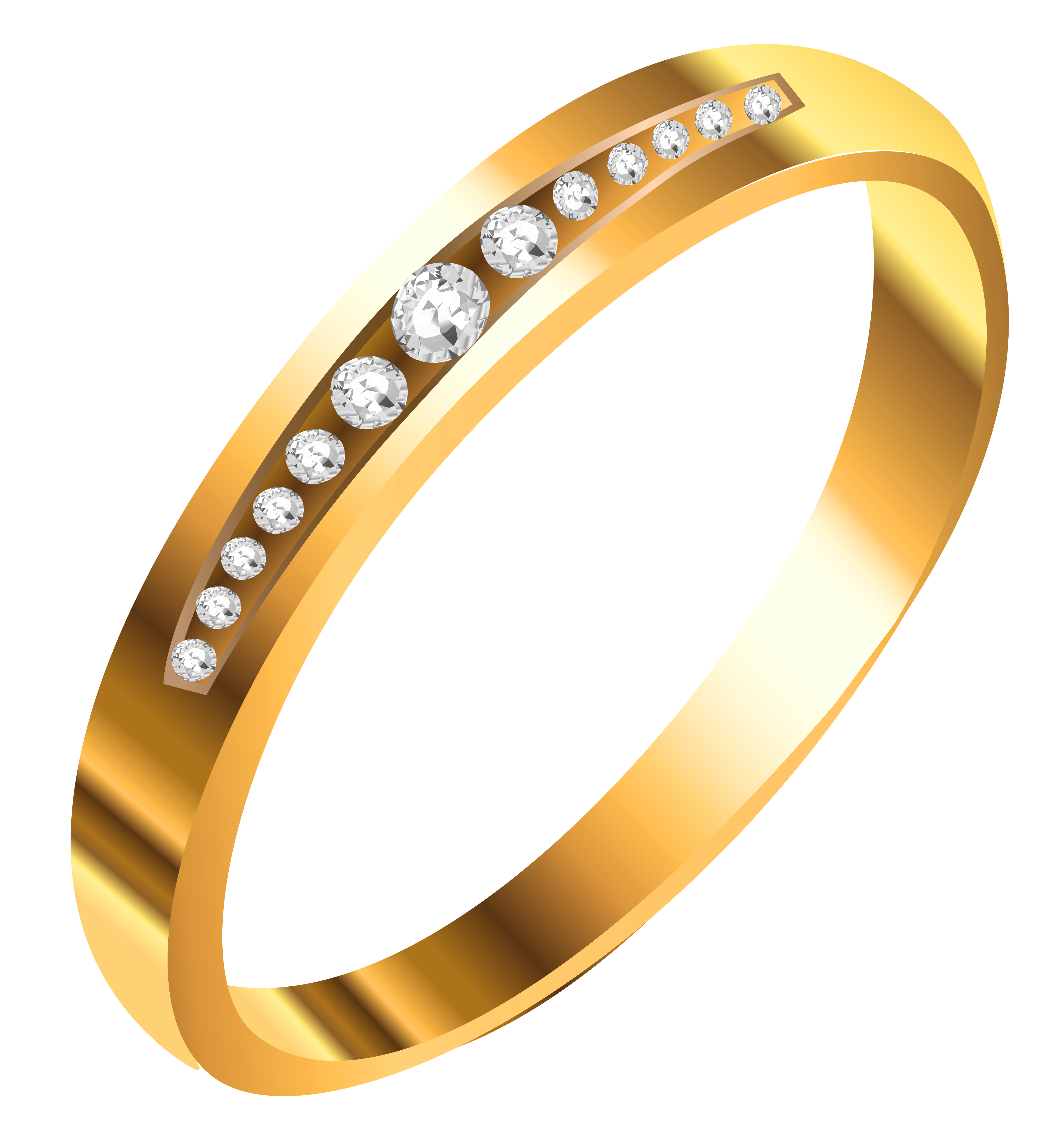 Gold Ring with Diamonds PNG Clipart.