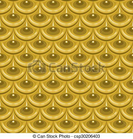 Vector Clipart of Seamless gold river fish scales.