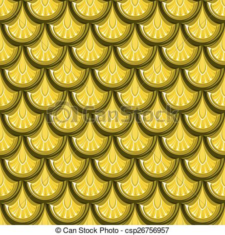 Clipart Vector of Seamless gold river fish scales.