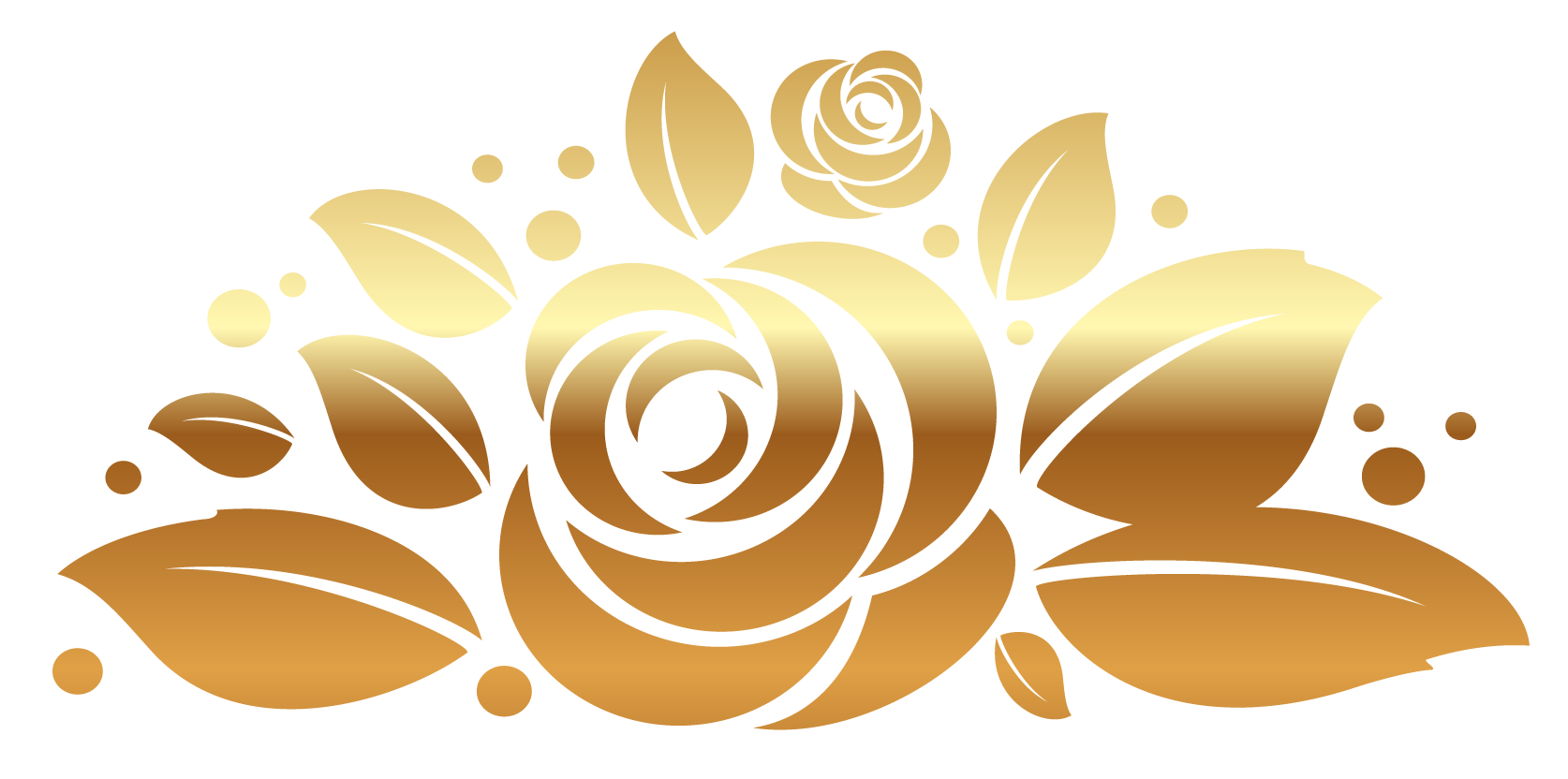 Gold Rose Decor PNG Clipart Picture.