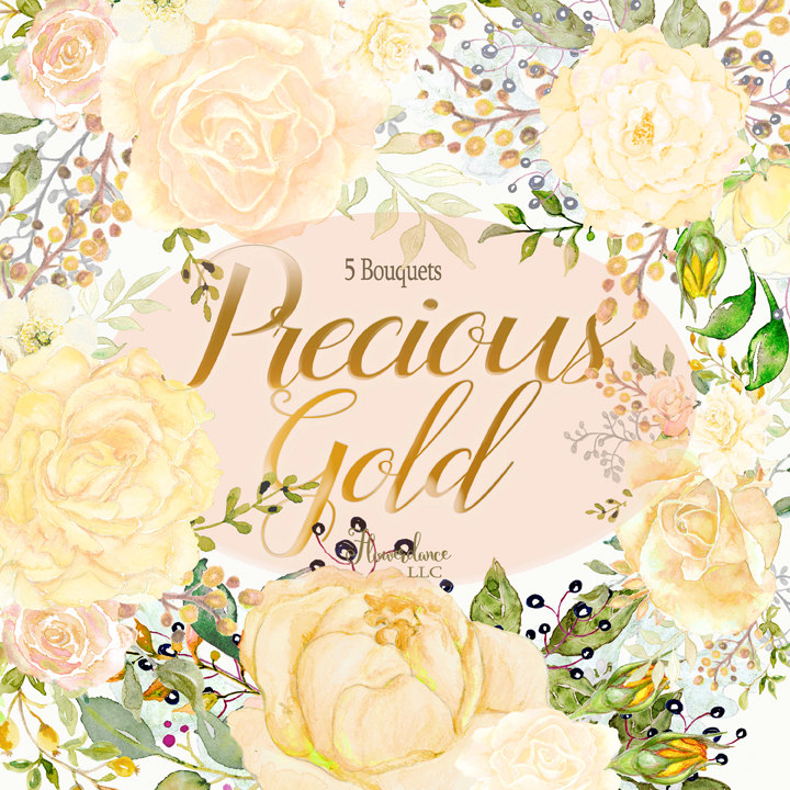 Gold rose clipart gold rose bouquet floral roses clipart, gold.