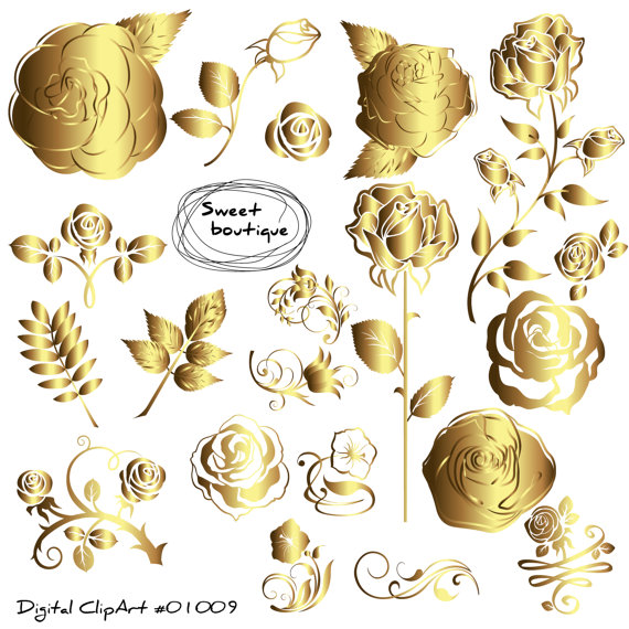 GOLD Rose clipart Rose Flowers Clipart Floral Bouquet GOLD.