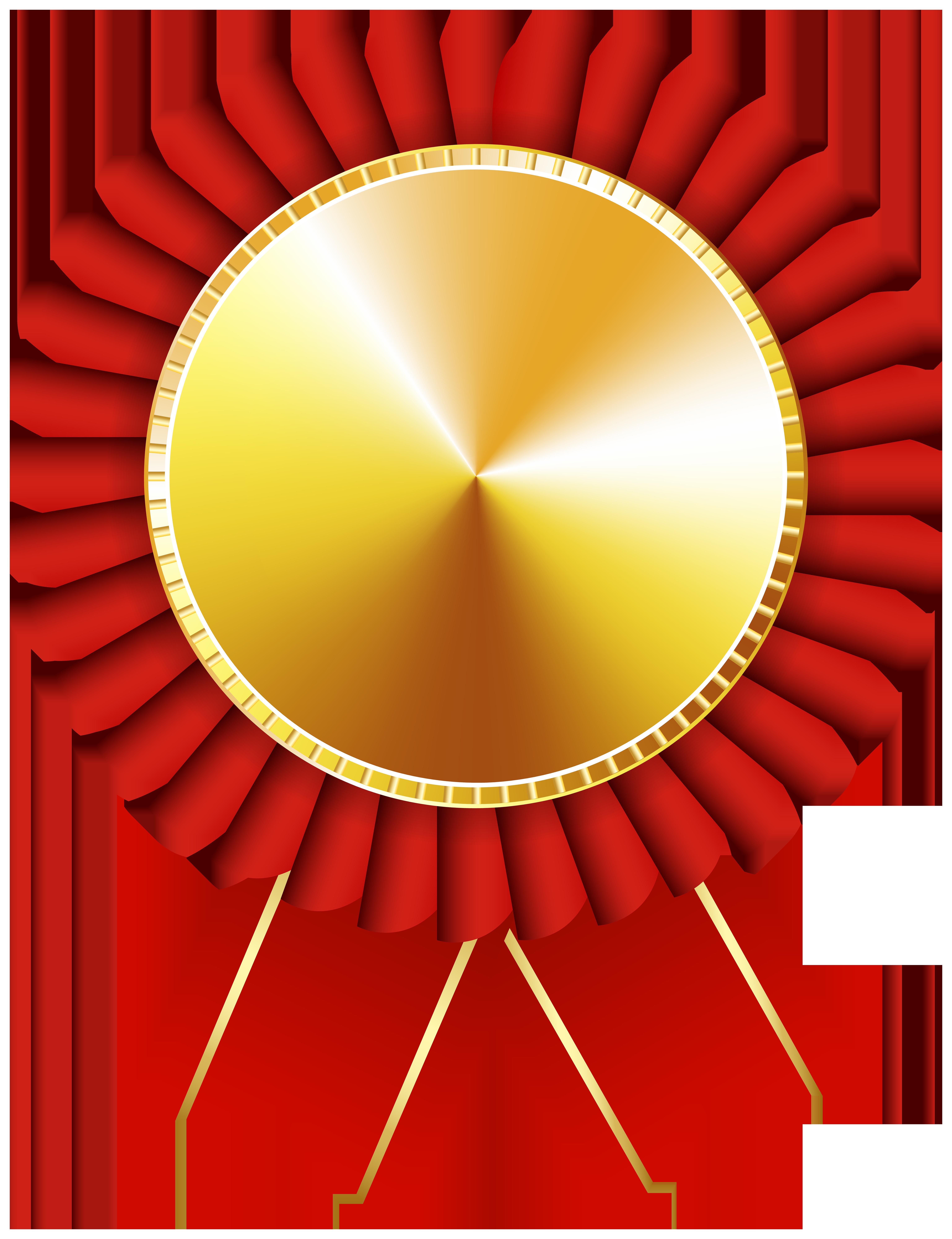 Rosette Ribbon Red Gold Transparent Image.