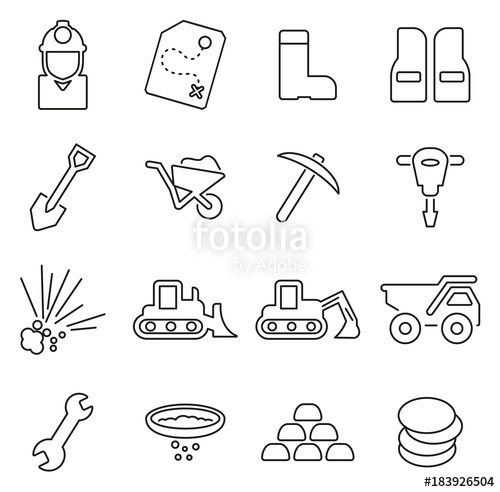 Gold Mining or Gold Rush Icons Thin Line Vector Illustration.