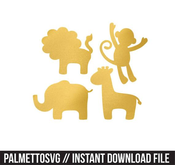 safari animals gold foil clip art png svg dxf file file silhouette cricut  baby shower kids animals clip art.