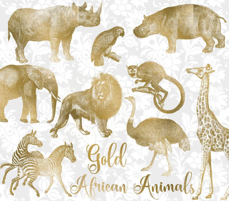 Vintage Gold African Animals Clipart, antique safari illustrations, png  clip art, elephant, lion, giraffe digital download, commercial use.