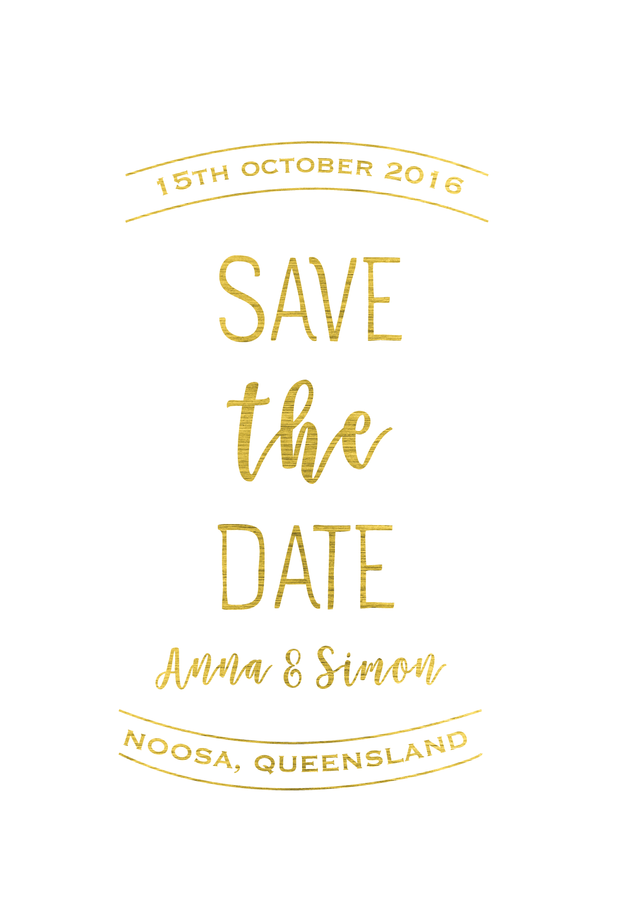Wedding Save the Date Invitations 'CLASSIC GOLD'.