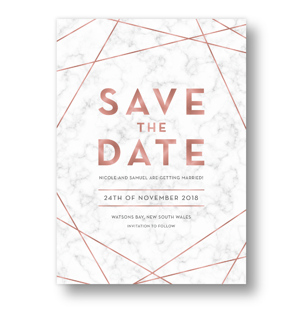Save The Date Cards 'Modern Marble' Rose Gold Faux Foil.